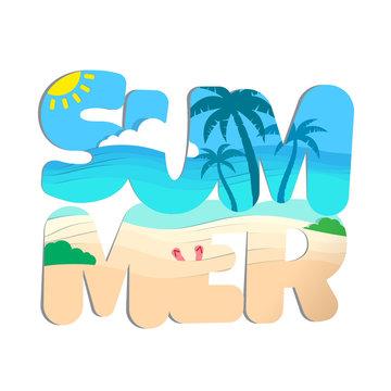 word summer double exposure tropical beach landscape