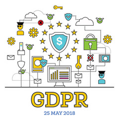 GDPR Concept. Vector Illustration. General Data Protection Regulation.