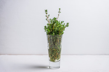 Fresh green thyme in the glass. Selective focus.