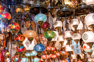 lamps for sale on Grand Bazaar at Istanbul, Turkey