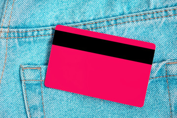 Credit card in poket blue classic jeans