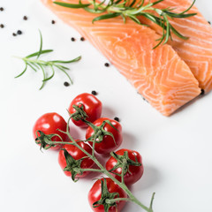 Fillet of salmon isolated on white background