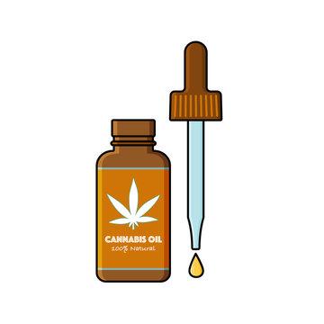 Open bottle with cannabis,marijuana tincture, oil