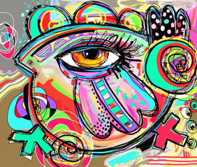 original abstraction composition of doodle bird, digital paintin