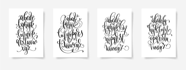 set of four black and white hand lettering alphabet design poste