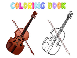 Coloring violin isolated on white