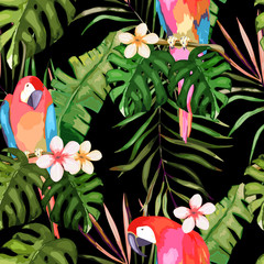 Tropical seamless pattern. Palm tree leave, flower and parrot. Hand drawn vector illustration. Summer background