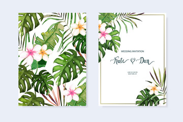 Floral set. Wedding Invitation, save the date, rsvp, invite card. Vector illustration. Celebration template. Watercolor style