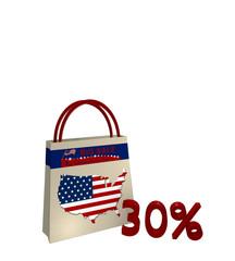 Einkaufstasche mit Sale Werbung für den Unabhängigkeitstag einen Kartenausschnitt der USA und Text 30%, 3d render