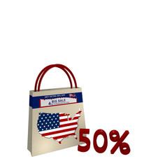 Einkaufstasche mit Sale Werbung für den Unabhängigkeitstag einen Kartenausschnitt der USA und Text 50%, 3d render