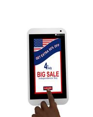 Handy mit Sale Werbung und einer Hand die auf einen button drückt. Auf weiß isoliert, 3d render