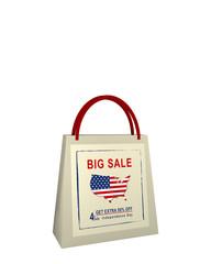 Einkaufstasche mit Sale Werbung für den Unabhängigkeitstag, 3d render