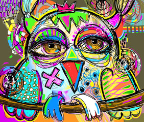 original abstract digital painting artwork of doodle owl