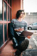 Cool man outdoors portrait