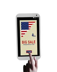 Handy mit Sale Werbung und einem Finger der auf einen button cklickt. Auf weiß isoliert, 3d rendering