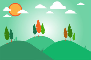 cartoon view of mountain and tree with sun.