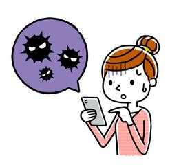 女性:スマートフォン、ウイルス、感染