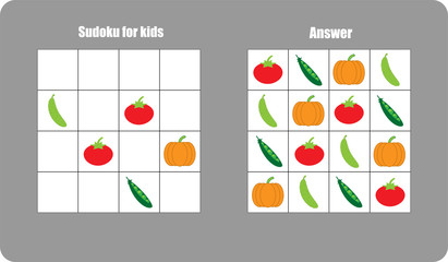 Sudoku game with vegetables (tomato, cucumber, peas, pumpkin) for children, easy level, education game for kids, preschool worksheet activity, task for the development of logical thinking, vector