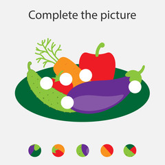 Complete the puzzle and find the missing parts of the picture, vegetables,  fun education game for children, preschool worksheet activity for kids, task for the development of logical thinking, vector