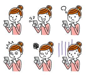 女性:スマートフォン、セット、バリエーション