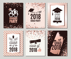 Graduation Class of 2018 rose gold greeting cards set. Vector party invitations. Grad posters. All isolated and layered