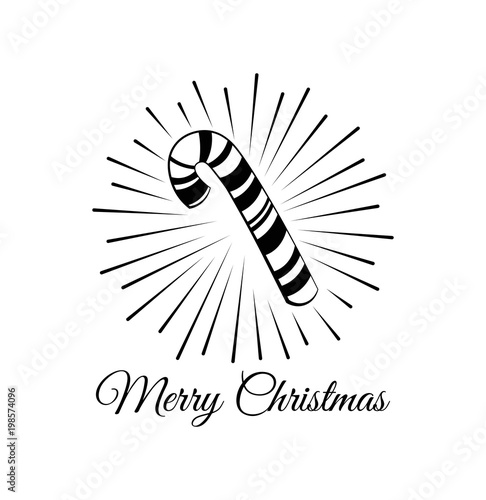Candy Cane Merry Christmas And Happy New Year Greeting Card