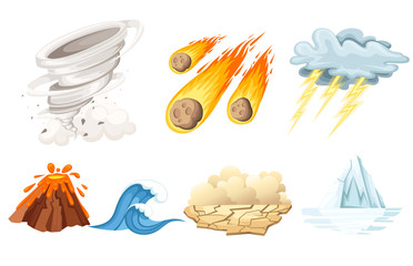 Natural cataclysm icons set. Tsunami wave, tornado swirl, flame meteorite, volcano eruption, sandstorm, deglaciation, storm. Cartoon style color icon. Vector illustration isolated on white background