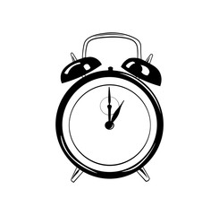Doodle style retro alarm clock illustration in  format
