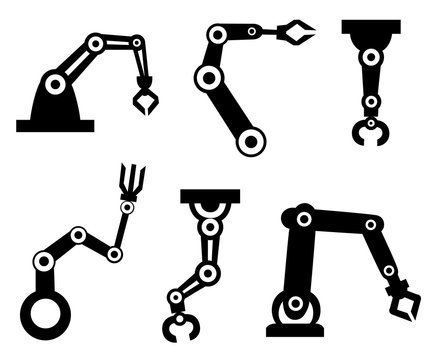 Black silhouettes. Set of robotic arms. Robotic arm manufacture. Cartoon style icon. Vector illustration isolated on white background