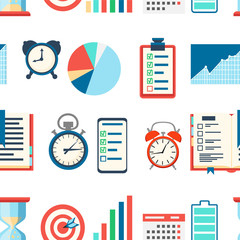Seamless pattern of time management. Charts analysis and optimization goal, schedule, battery, indicators, calendar. Vector illustration on white background. Web site page and mobile app