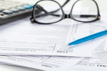 Tax forms, close up