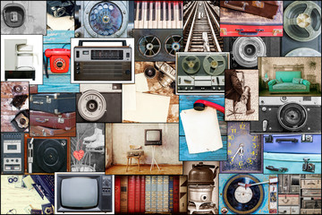 collage of a photo of old things