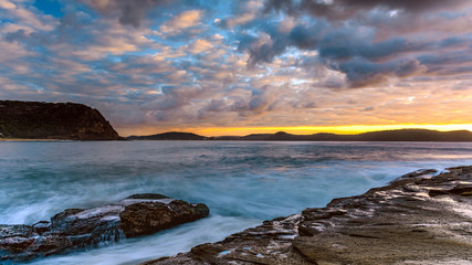 Sunrise Seascape with Cloud and Rock Ledge