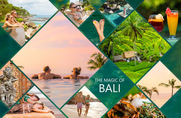 Collage of photos from beautiful Bali island in Indonesia