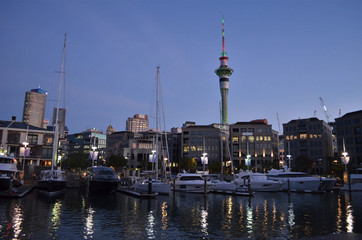 Auckland Viadact harbour and skytower during evening