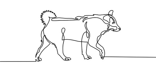 continuous one line drawing of walking dog in minimalistic style