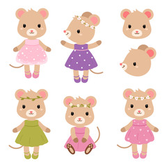 Cute mouses. Vector flat illustration.