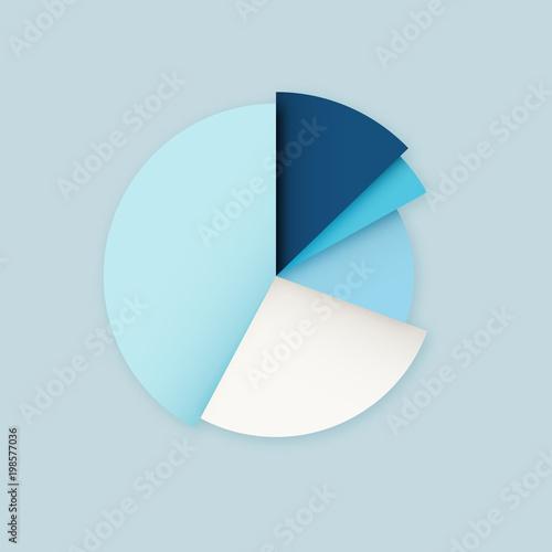 Blue Vector Blank Pie Chart Diagram Infographics Design Template