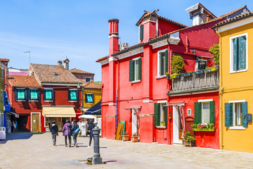colorful houses on the island of Burano, Venice