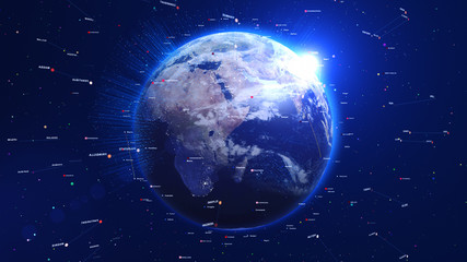 Digital blue globe with shiny lights and lines around. Technology concept.