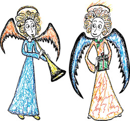 Christmas angels with a trumpet and a gift
