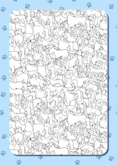 Coloring book with cute cartoon dogs. Different breeds. Background with paws. Vertical