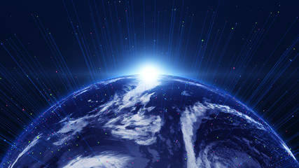 Shiny blue earth with 3d lines around. Technology and global network concept.