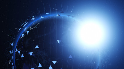 Shiny blue earth covered with 3d lines and triangles around. Technology and global network concept.