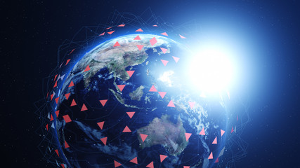 Shiny blue earth covered with 3d lines and colorful triangles around. Technology and global network concept.