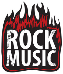 Vector banner or icon with the inscription Rock music in the fire. Creative lettering for t-shirt in modern style