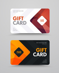 Wall Mural - Vector gift card template with polygonal bronze and gold elements.