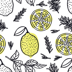 Food collection Rosemary and lemons Hand drawn style Seamless pattern