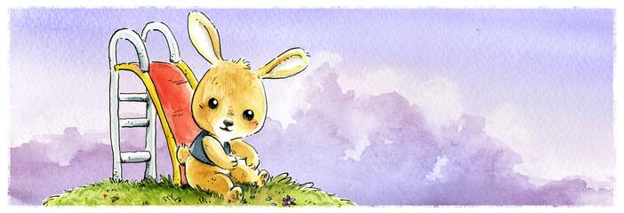 conejo jugando en tobogan