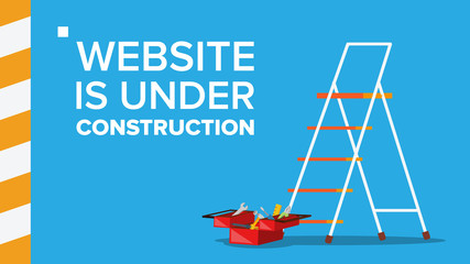 Website Under Construction Vector. Landing Page. Error Website Page. Coming Soon. Design, Development. Flat Illustration